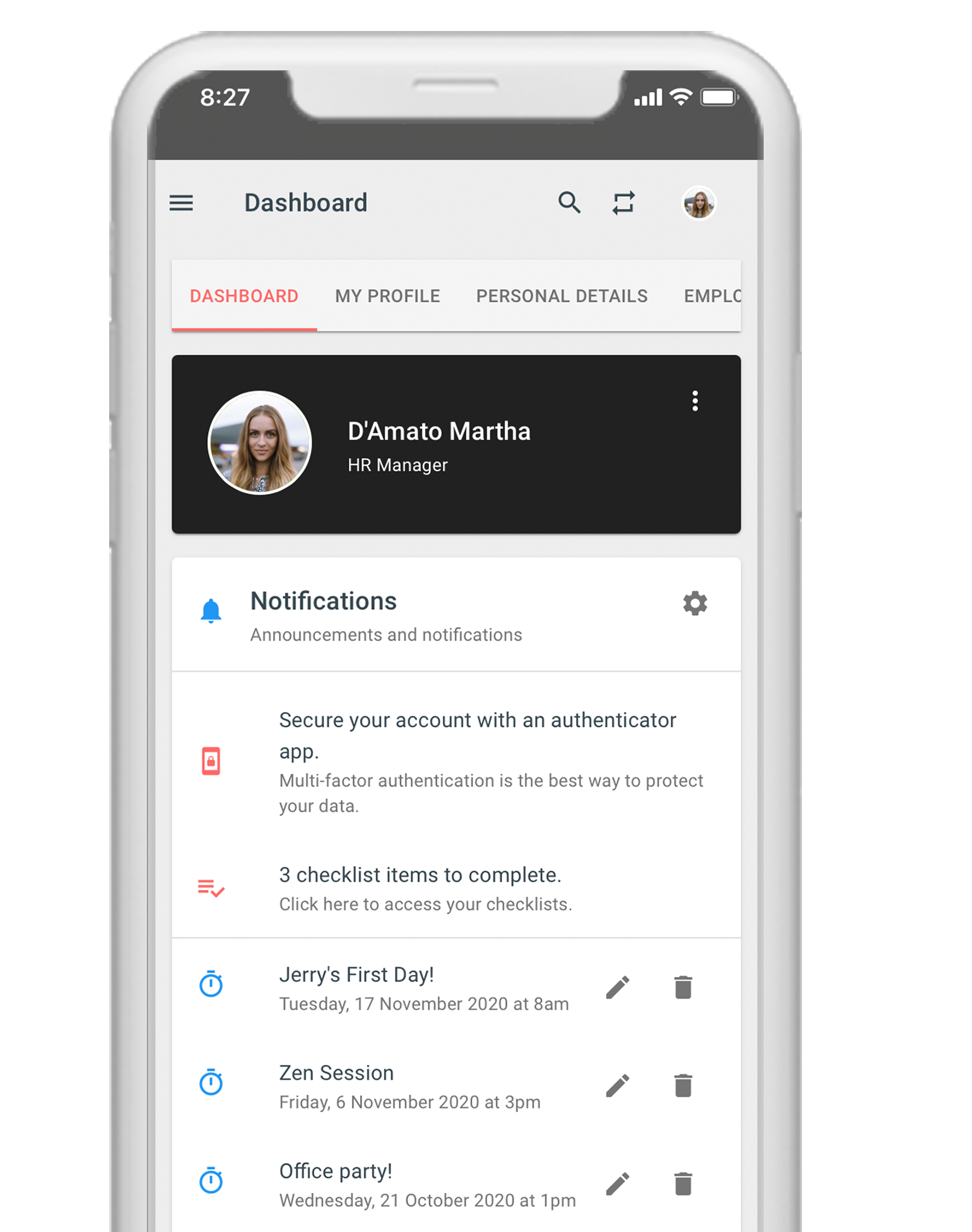 Talexio Payroll and HR Software Mobile Dashboard
