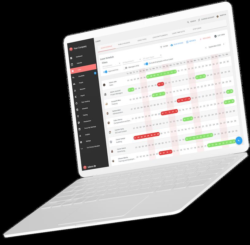 Talexio Payroll & HR Software Dashboard